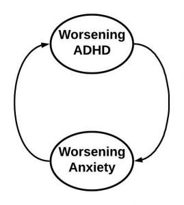 A feedback loop showing that worsening ADHD leads to increased anxiety, which leads to worsening ADHD