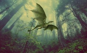 A dragon flying through the forest